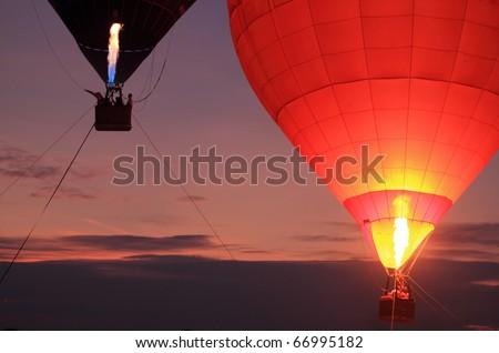 balloon with sunset - stock photo