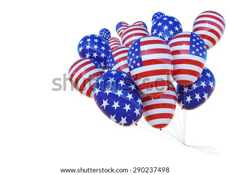 balloon with United State of America Flag .American Independence .copy space for text. Happy New Year 2017.USA election