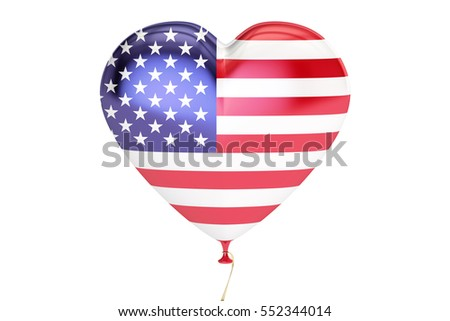 balloon with USA flag in the shape of heart, 3D rendering