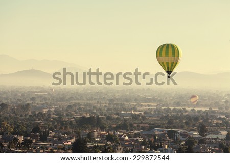 balloons above Teotihuacan - stock photo