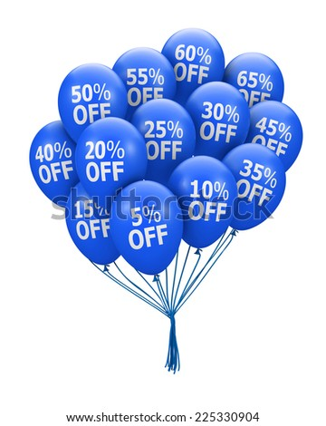 balloons and discounts - stock photo