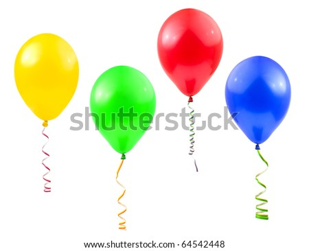 Balloons and streamer isolated on white background