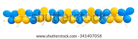 Balloons are yellow and blue in the group isolated on white background. - stock photo
