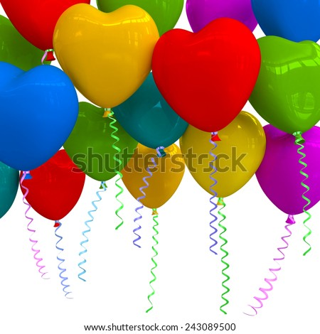 Balloons as hearts isolated on white background. - stock photo