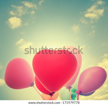 Balloons Background For Valentines Or Seasonal Holidays - stock photo