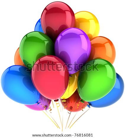 Balloons birthday party holiday decoration multicolor. New Years Eve Merry Christmas. Happy positive fun joy abstract anniversary celebration retirement concept. 3d render isolated on white background - stock photo