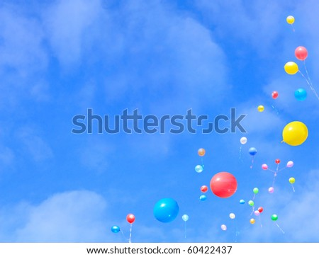 Balloons flying into the sky. - stock photo