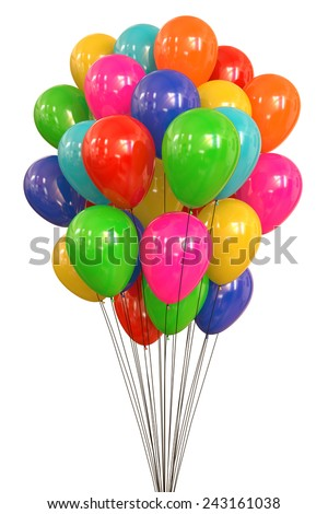 Balloons flying trapped by wires on white background. Clipping path included. - stock photo