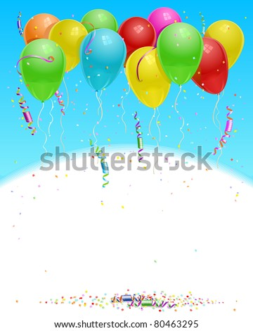 balloons flying up in the sky with confetti and party streamers JPEG