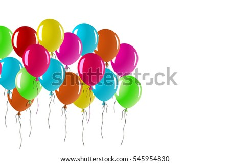 Balloons Glossy Colorful Bunch of Happy New Year and Valentine Day Balloons for Party and Celebrations with Space in White Background.