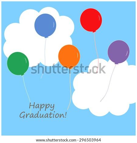 Balloons - Happy Graduation! - stock photo