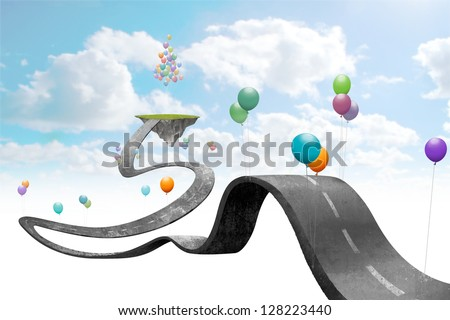balloons hold suspended in sky the road - stock photo