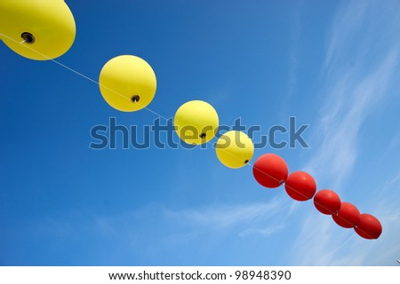balloons in the sky, copy-space, room for text