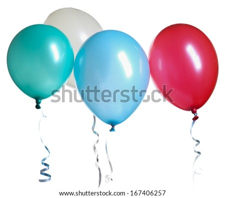 Balloons isolated against a white background