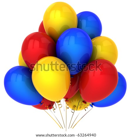 Balloons multicolor (red, yellow, blue). Party birthday holiday decoration. Positive emotions concept. This is a detailed 3D render (Hi-Res). Isolated on white