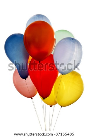balloons of different colors on white background - stock photo