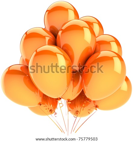 Balloons party birthday decoration orange yellow. Sunny holiday celebration anniversary graduation retirement concept. Happy joy positive emotion abstract. 3d render isolated on white background - stock photo