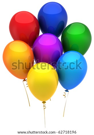 Balloons. Party decoration. This is a detailed 3D render (Hi-Res). Isolated on white