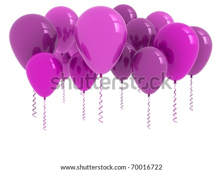 balloons purple isolated on white background - stock photo