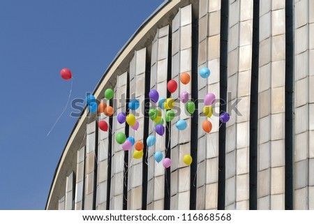 balloons released up to sky - stock photo