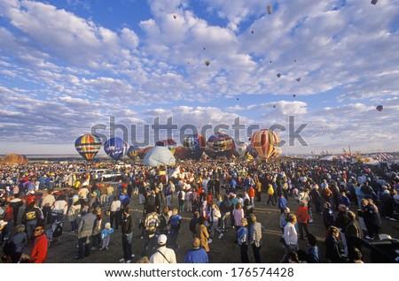 Balloons take to the air at the Albuquerque International Balloon Fiesta in New Mexico - stock photo