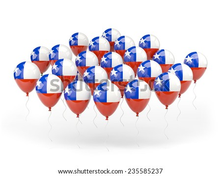 Balloons with flag of chile isolated on white
