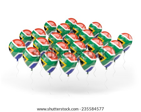 Balloons with flag of south africa isolated on white
