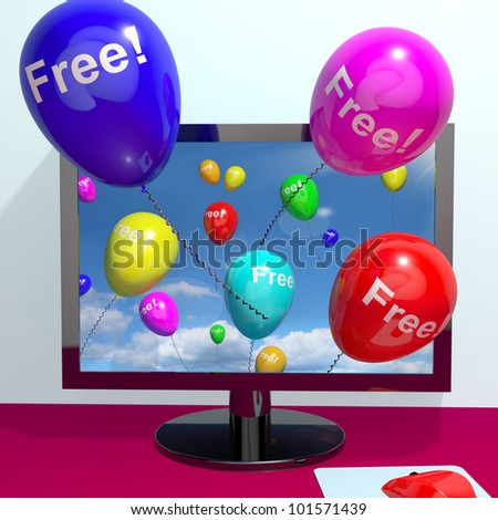 Balloons With Free Coming Through Computer  Shows Freebies and Promotions Online