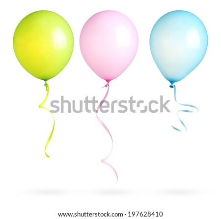 Balloons with ribbon isolated on white background. - stock photo