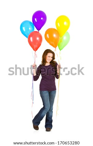 Balloons: Woman Holds Colorful Bouquet Of Balloons.