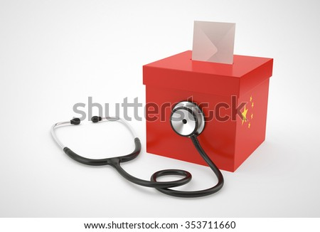 Ballot box and stethoscope for China - stock photo