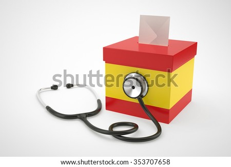 Ballot box and stethoscope for Spain. - stock photo