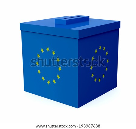 ballot box colored with european flag, 3d illustration - stock photo