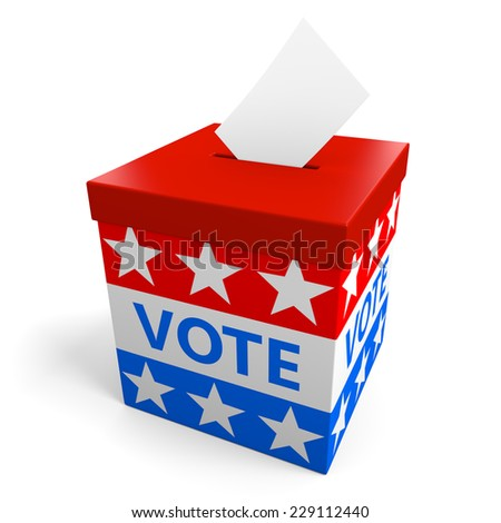 Ballot box for collecting votes from an American political election - stock photo