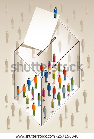 ballot box full of colorful people - stock photo