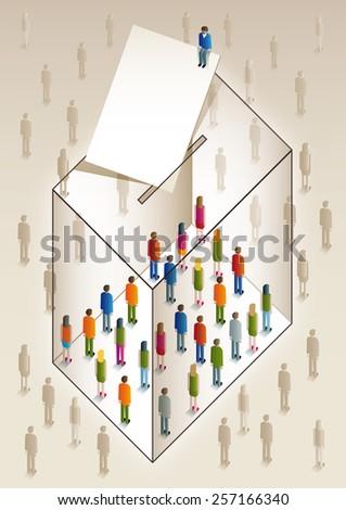 ballot box full of colorful people - stock photo