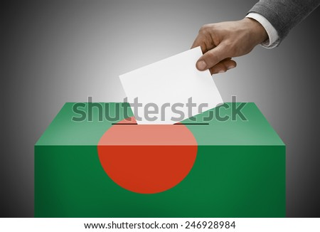 Ballot box painted into national flag colors - Bangladesh - stock photo