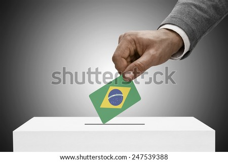 Ballot box painted into national flag colors - Brazil - stock photo