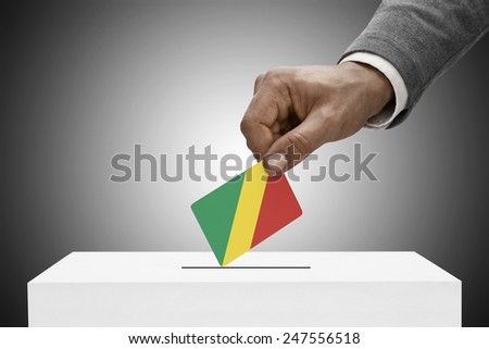 Ballot box painted into national flag colors - Congo-Brazzaville - Republic of the Congo - stock photo
