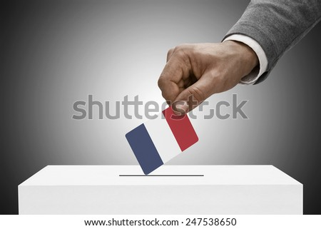 Ballot box painted into national flag colors - France - stock photo