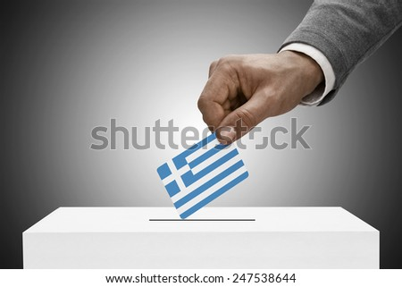 Ballot box painted into national flag colors - Greece - stock photo