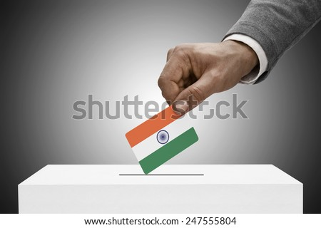 Ballot box painted into national flag colors - India - stock photo