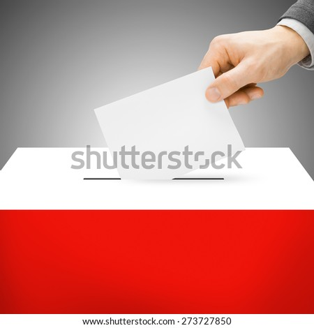 Ballot box painted into national flag colors - Poland