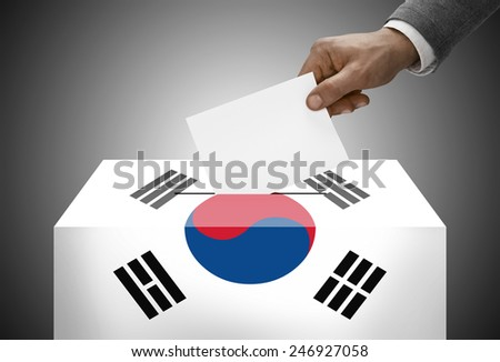 Ballot box painted into national flag colors - South Korea - stock photo