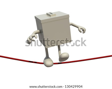 ballot box poised on the wire, 3d illustration on white background - stock photo