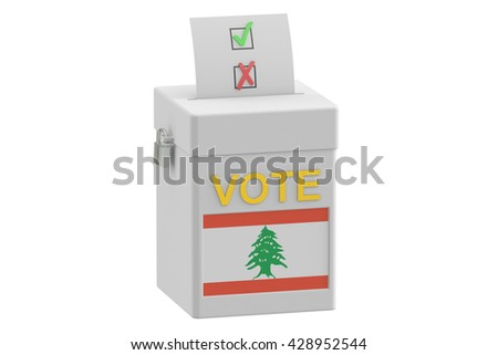 ballot box with flag of Lebanon, 3D rendering isolated on white background - stock photo