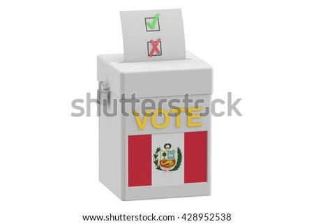 ballot box with flag of Peru, 3D rendering isolated on white background - stock photo