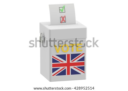 ballot box with flag of United Kingdom, 3D rendering isolated on white background - stock photo