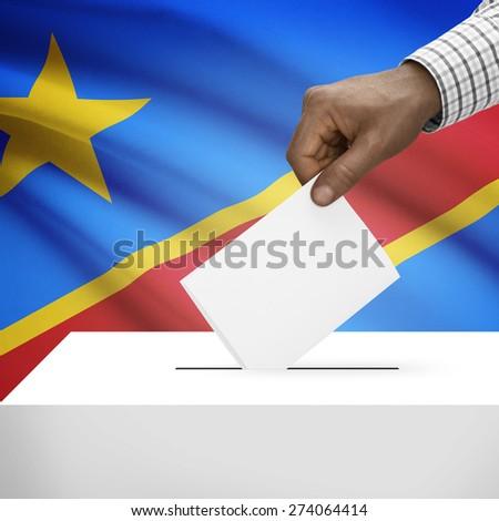 Ballot box with flag on background - Democratic Republic of the Congo - Congo-Kinshasa - stock photo