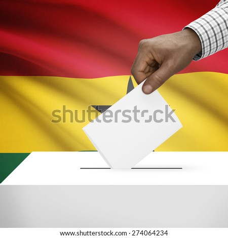 Ballot box with flag on background - Ghana - stock photo